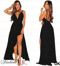 Women Evening Dress Black Maxi Ball Gown Prom Party Formal Long Halter Size 8 10