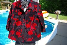 NWT Ladies Talbots Black & Red Roses Velvet Jacket Size 10P Petite $ 209.00