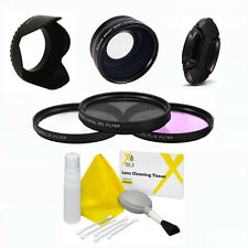 ZOOM LENS +HD FILTER KIT + HOOD FOR CANON EOS T4i T3i T3 TSL1 80D 40D 1300D T6