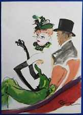 Jean-Gabriel DOMERGUE : Couple au théatre # LITHOGRAPHIE SIGNEE # 1950
