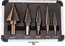 5PCS HSS Cobalt Multiple Hole 50 Sizes Step Drill Bit Set Tools w/ Aluminum Case