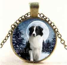 Vintage Border Collie & Moon Cabochon Glass Bronze Chain Pendant Necklace