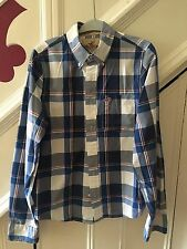 SIZE MEDIUM HOLLISTER BLUE/WHITE CHECK SHIRT SURFER CUT WINTER/AUTUMN  RRP £85