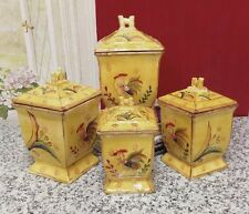 Sunshine Rooster Collection Hand-Painted 4-Piece Kitchen Canister Set, New, Free