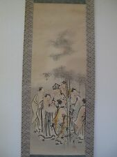 Fine 20th Century Large Republic Period Chinese Hand Painted Scroll 7 Scholars