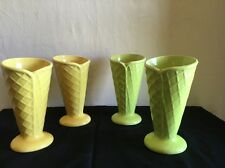 Trisa Set of 4 Ceramic Waffle Cone Ice Cream Sundae Glasses Parfait Dishes Used