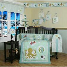 13pc Baby Neutral Blue OCTOPUS TURTLE SEA HORSE OCEAN Crib Bedding Nursery SET