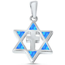 Blue Opal Star of David with Cross .925 Sterling Silver Pendant