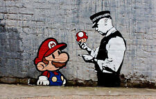 "Banksy, Super Mario, 10""x16"", Graffiti Art, Canvas Print"