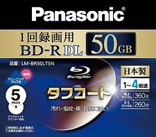 5 Panasonic Bluray 50GB Dual Layer Disc BD R DL 4X Inkjet Printable Blu ray
