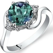 14K White Gold Created Alexandrite Diamond 3 Stone Ring 2.25 Carat Size 7