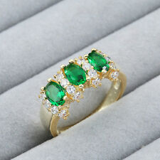 New 18k yellow gold filled Emerald fashion jewelry wedding ring size7 N961-7