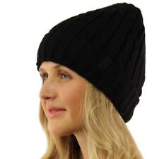 Winter 2ply Fleece Lined Stretch Cable Knit Cuff Beanie Skull Ski Hat Cap Black