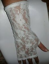 """Gloves 12"""" Long Lace White Bridal Wedding Party Fancy Dress - New From UK"""