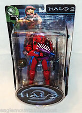 Halo 2 Series 4 RED SPARTAN BLUE TRIM FIGURE SNIPER RIFLE NEEDLER ASSAULT BOMB