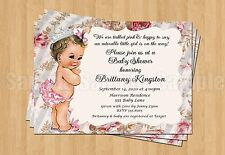 Vintage Baby Girl Baby Show 1st Birthday or Baby Shower Invitations