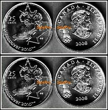 2x CANADA 2008 CANADIAN QUARTER WINTER OLYMPIC BOBSLEIGH 25 CENT COIN LOT