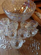 Vintage Federal Glass Iridescent Punch Bowl Cups and Hooks Yorktown Jubilee Patt