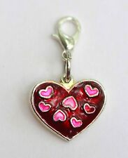 Shimmering Red & Pink Heart Lobster Claw Clasp Single Clip on Charm Pendant
