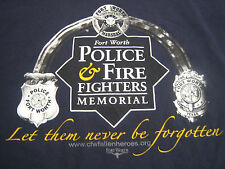 Mens Large L T-Shirt Navy Blue Ft Worth Texas Police Fire Fighters Memorial