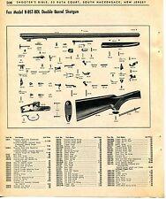 1965 Print Ad of Fox Model B BST BDL Double Barrel Shotgun parts list