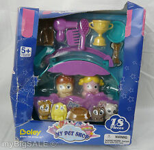 My Pet Shop 18 Pieces Boley 2010 Boy Girl Dog Cat Figures Brush Food Bowl HTF