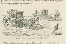ANTIQUE HORSE CARRIAGE OF KING RIDERS COACHES EQUESTRIAN SMALL MINIATURE PRINT