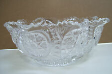 """Vintage Crystal Clear Decorated Art Glass Fruit Candy Dish Round 7"""" Bowl"""