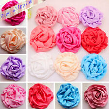 20pcs Wholesale Satin Rolled Rosettes flower DIY craft Hair Accessory Supplies