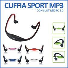 CUFFIE CUFFIA SPORT MP3 LETTORE MICROSD WIRELESS USB X CORSA JOGGING MICRO SD
