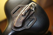 Leather pancake sheath pouch for Spyderco Military or Civilian