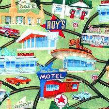 Timeless Treasures Route 66 ROADSIDE ATTRACTIONS American Diner Road Trip Fabric