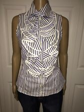 NWT Anne Fontaine REPLIQUE Blue Sleeveless Ruffle Corset Back Top Size 38