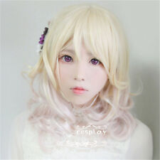 DIABOLIK LOVERS Yui Komori Blond Pink Mixed Curly Party Hair Thicken Cosplay Wig