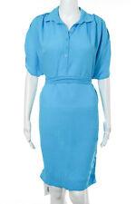 Diane Von Furstenberg Blue Belted Collared Short Sleeve Dress Size 2