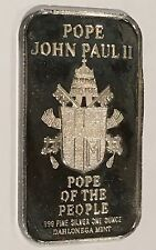 John Paul II Pope Of The People Rare Collectible Bar 1 Troy Oz .999 Fine Silver