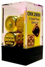 Chessex Dice d6 Set 16mm Gold Plated 2 Die Six Sided CHX 29006