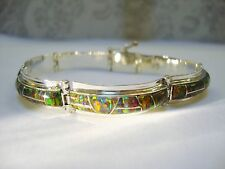 "Black RED Glowingold Fire Opal Linked Bracelet 7"" Med Sterling Silver 925 $600"