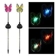 2PCS Solar Powered butterfly Fiber Optic Wing Garden Stake Color Change Light