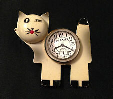 DECO Vintage DuBarry dimensional painted CAT metal brooch - faux clock
