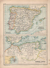 1901 VICTORIAN MAP ~ SPAIN & PORTUGAL BALEARIC ISLES ~ BARBARY STATES GIBRALTAR