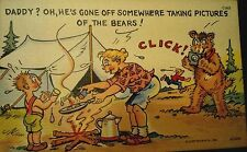 """""""Daddy? Oh, He's Gone Off"""" Curt Teich Vintage Comic Humor Linen Post Card Unused"""