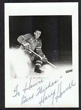 Harry Howell New York Rangers HOFer Signed Vintage Team-Issue Hockey Photo