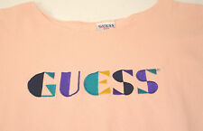 Vintage 80s GUESS Spellout Embroidered T-Shirt Pink Apricot OSFA Made in USA XL