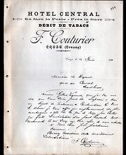 """CROZE (23) HOTEL CENTRAL / BUREAU de TABAC """"J. COUTURIER"""" en 1911"""