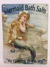 Vintage jolie sirène sels de bain fille mer publicité métal signe plaque salle de bain