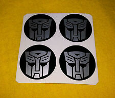 ALLOY WHEEL STICKERS 4x75mm Transformers Autobots Silver logo centre cap badge
