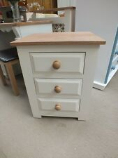 HAMPSHIRE PAINTED 3 DRAWER BEDSIDE CABINET HAND MADE SOLID OAK & PINE BESPOKE