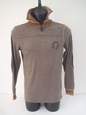 Maglione Roberto Cavalli,collo con zip,colore melanzana,pelle tg 48.