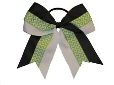 "NEW ""CHEVRON GREEN STRIPE"" Cheer Hair Bow Pony Tail 3"" Ribbon Girls Cheerleading"